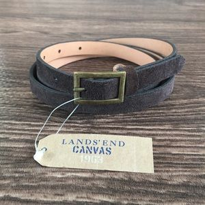 Lands' End Brown Suede Skinny Belt